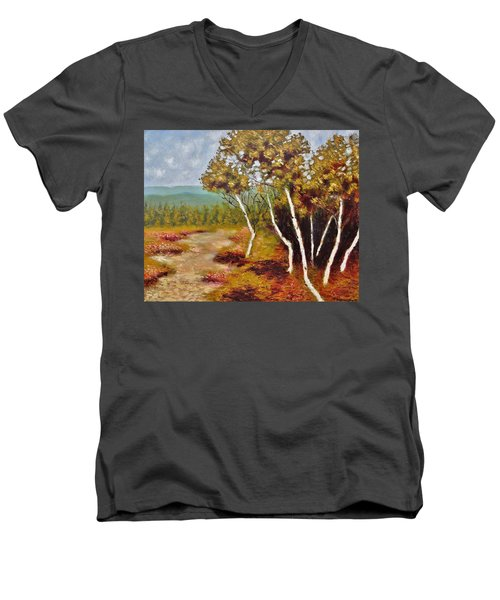 Men's V-Neck T-Shirt featuring the painting Camel Top Birches by Jason Williamson