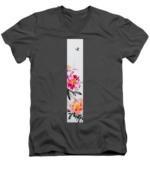 Camellia And Butterfly Men's V-Neck T-Shirt