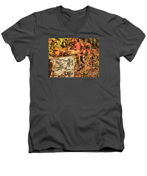 Men's V-Neck T-Shirt featuring the photograph Camo Bird by Debbie Stahre