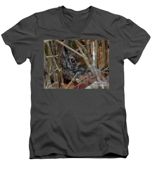 Men's V-Neck T-Shirt featuring the photograph Camo Bunny by Rockin Docks Deluxephotos