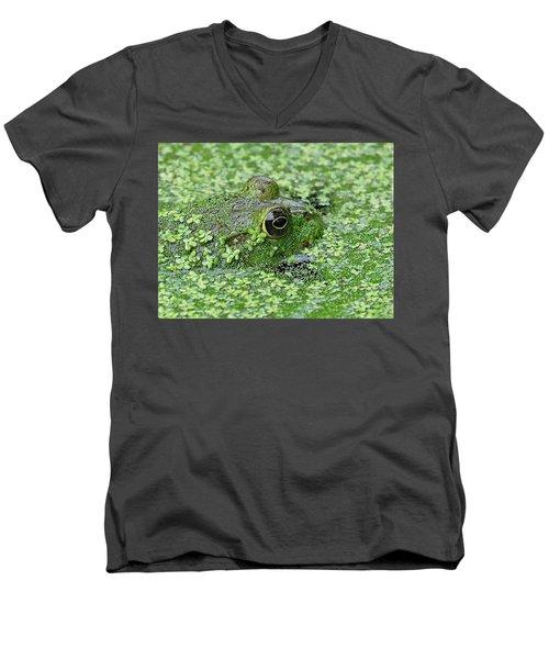 Camo Frog Men's V-Neck T-Shirt by Ronda Ryan