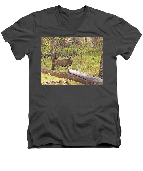 Camouflaged Buck Crystal Creek Colorado IIi Men's V-Neck T-Shirt
