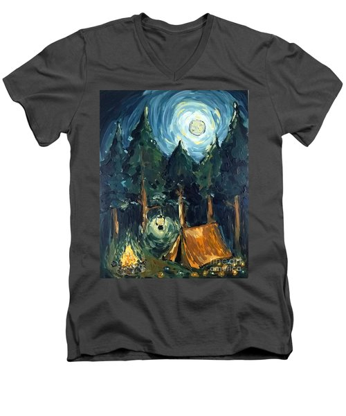 Camp At Night Men's V-Neck T-Shirt