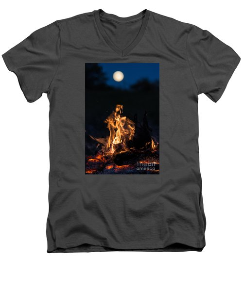 Camp Fire And Full Moon Men's V-Neck T-Shirt by Cheryl Baxter
