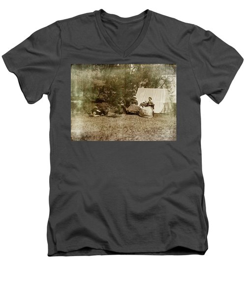 Camp Life Men's V-Neck T-Shirt by Randall Cogle