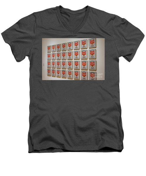 Men's V-Neck T-Shirt featuring the photograph Campbell Soup By Warhol by Patricia Hofmeester