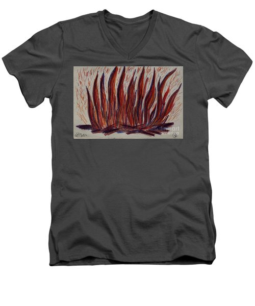 Campfire Flames Men's V-Neck T-Shirt by Theresa Willingham