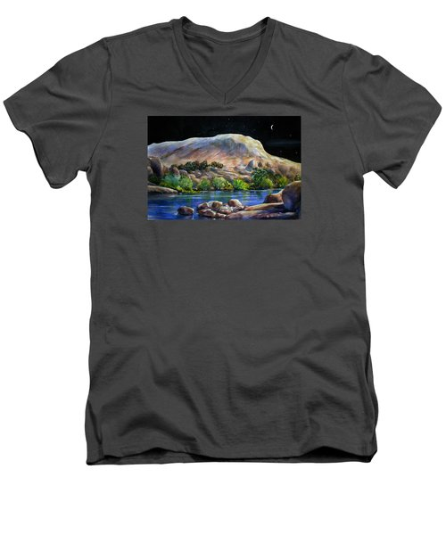 Camping In The Moonlight Men's V-Neck T-Shirt