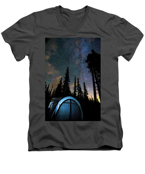 Men's V-Neck T-Shirt featuring the photograph Camping Star Light Star Bright by James BO Insogna