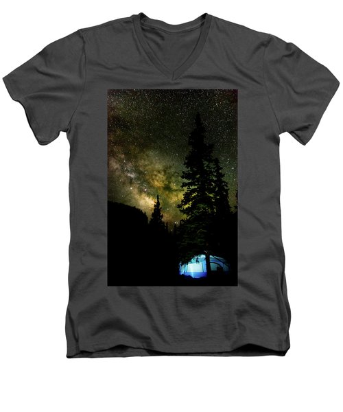 Camping Under The Milky Way Men's V-Neck T-Shirt