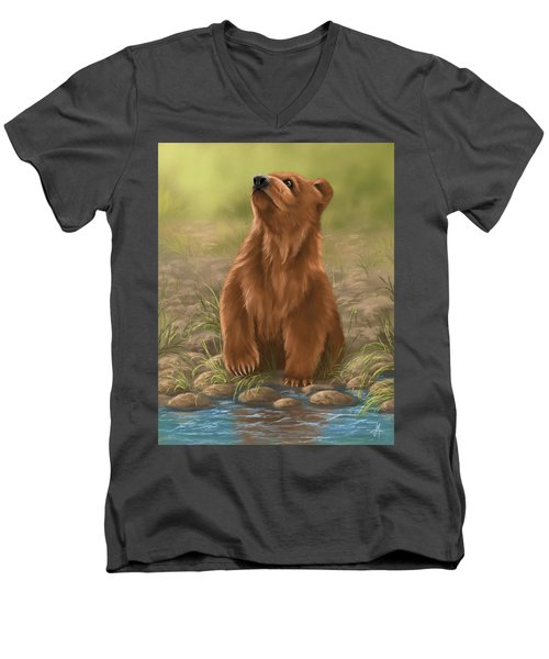 Men's V-Neck T-Shirt featuring the painting Can I Dive? by Veronica Minozzi