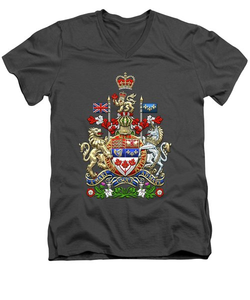 Canada Coat Of Arms Over Red Silk Men's V-Neck T-Shirt
