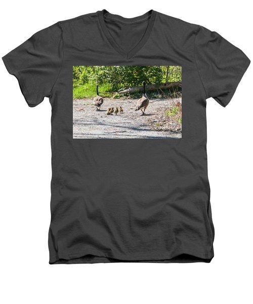 Canada Geese Family Walk Men's V-Neck T-Shirt