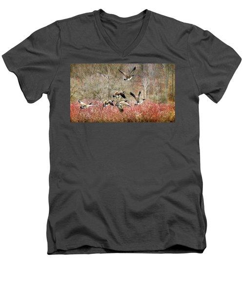 Canada Geese In Flight Men's V-Neck T-Shirt