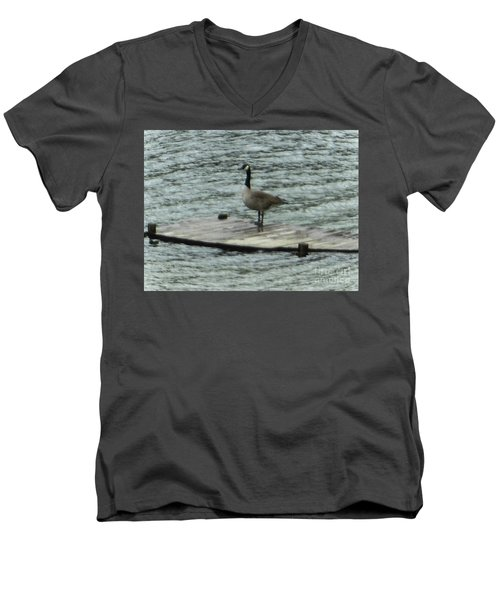 Men's V-Neck T-Shirt featuring the photograph Canada Goose Lake Dock by Rockin Docks Deluxephotos