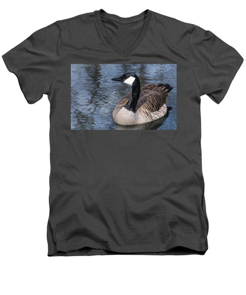 Canada Goose Swiming Men's V-Neck T-Shirt by Edward Peterson