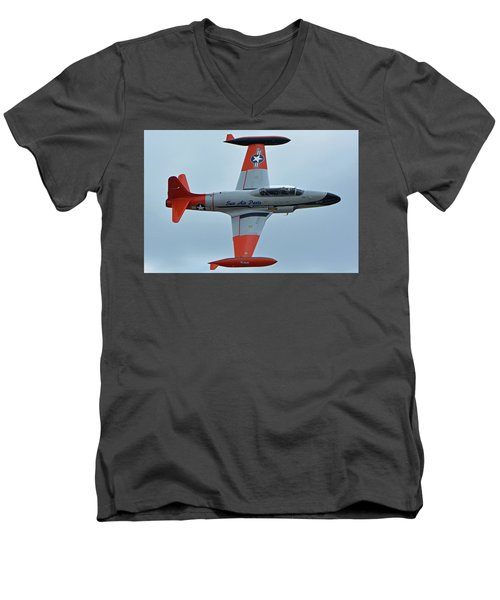 Men's V-Neck T-Shirt featuring the photograph Canadair Ct-133 Silver Star Nx377jp Pacemaker Chino California April 30 2016 by Brian Lockett