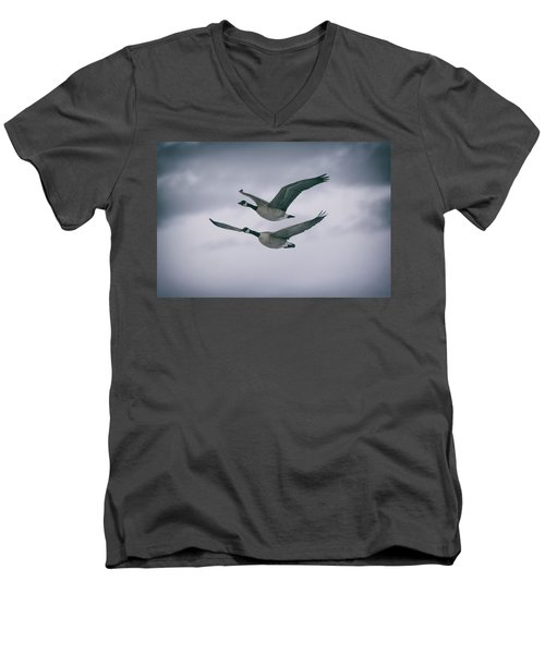 Canadian Geese In Flight Men's V-Neck T-Shirt
