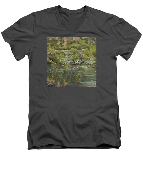 Canadian Geese La River Men's V-Neck T-Shirt by Jane Thorpe