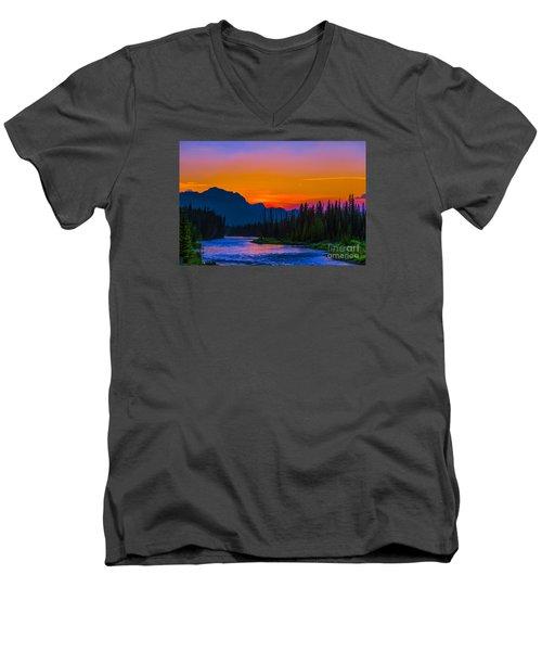 Canadian Rocky Sunset Men's V-Neck T-Shirt by John Roberts