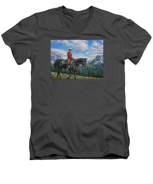 Men's V-Neck T-Shirt featuring the painting Canadian Majesty by Kim Lockman