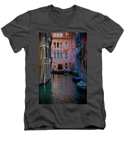 Canal At Dusk Men's V-Neck T-Shirt by Harry Spitz