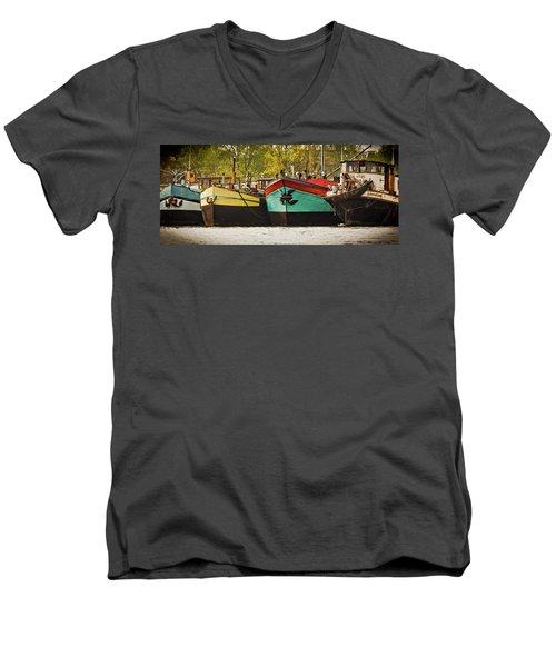 Canal Boats Men's V-Neck T-Shirt
