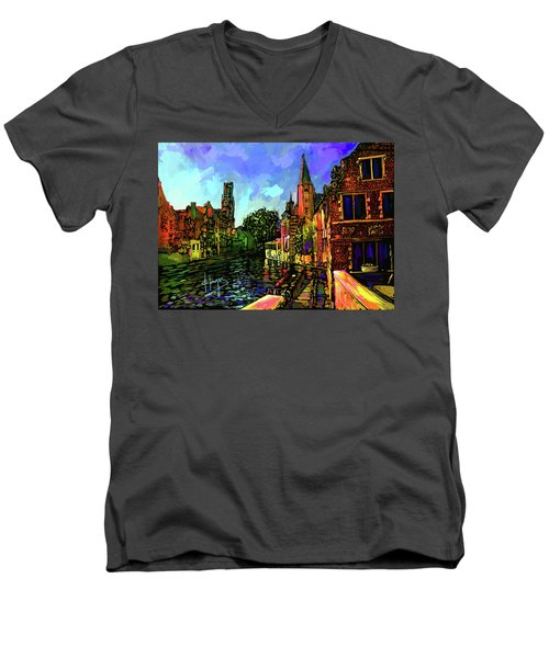 Canal In Bruges Men's V-Neck T-Shirt