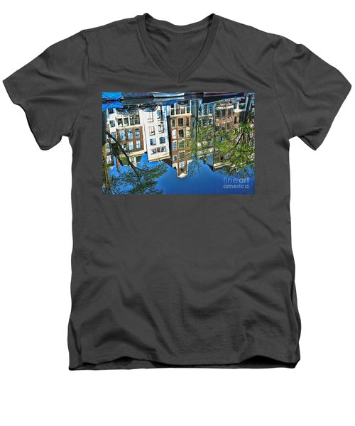 Men's V-Neck T-Shirt featuring the photograph Amsterdam Canal Reflection  by Allen Beatty