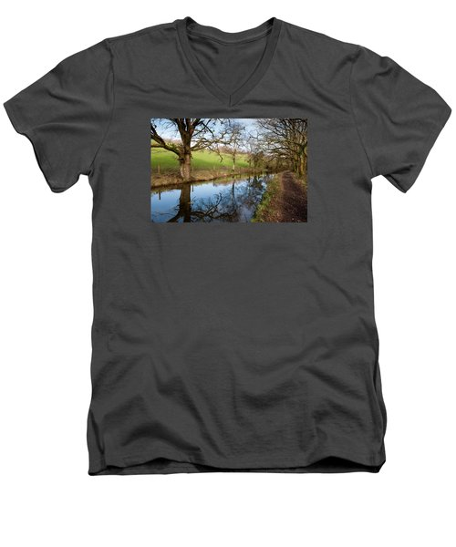 Canal Reflections Men's V-Neck T-Shirt by Helen Northcott