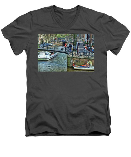 Men's V-Neck T-Shirt featuring the photograph Amsterdam Canal Scene 1 by Allen Beatty