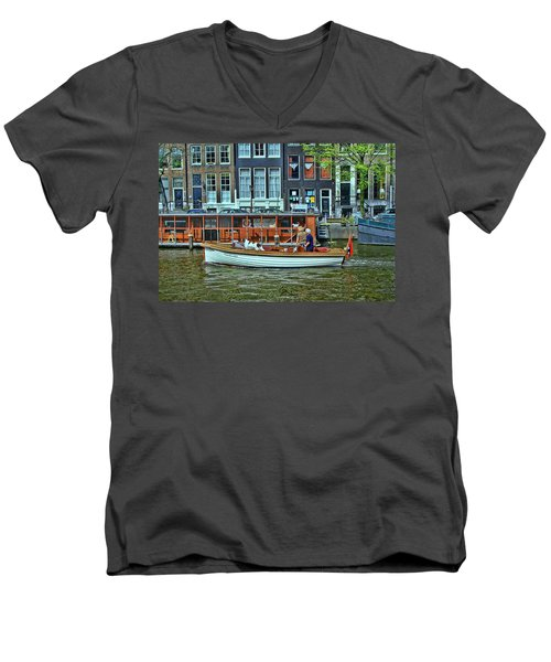 Men's V-Neck T-Shirt featuring the photograph Amsterdam Canal Scene 10 by Allen Beatty