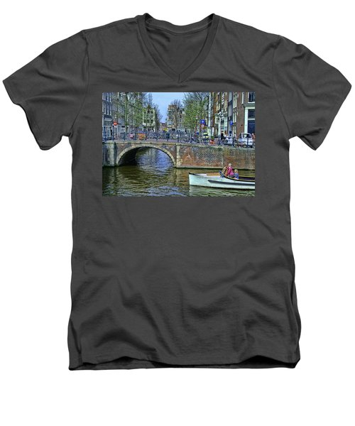 Men's V-Neck T-Shirt featuring the photograph Amsterdam Canal Scene 3 by Allen Beatty