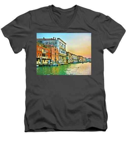 Canal Sunset - Venice Men's V-Neck T-Shirt by Tom Cameron