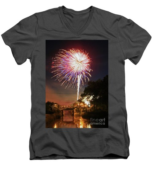Canal View Of Fire Works Men's V-Neck T-Shirt