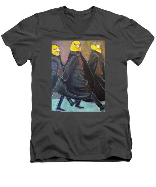 Men's V-Neck T-Shirt featuring the painting Canaries On Parade by Irena Mohr