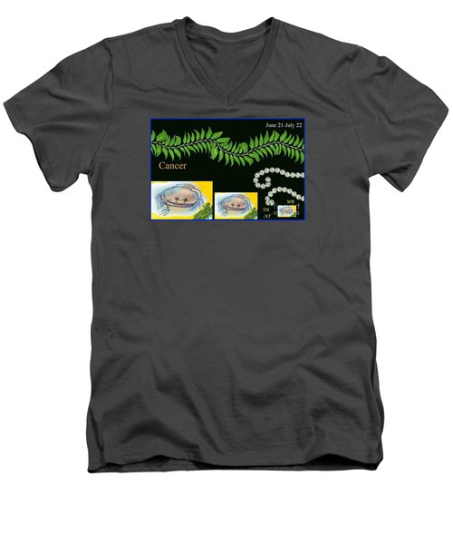 Men's V-Neck T-Shirt featuring the digital art Cancer by The Art of Alice Terrill