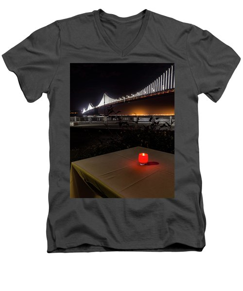 Men's V-Neck T-Shirt featuring the photograph Candle Lit Table Under The Bridge by Darcy Michaelchuk