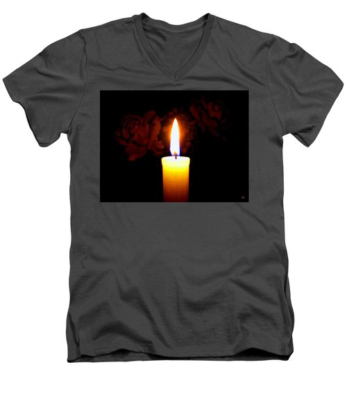 Candlelight And Roses Men's V-Neck T-Shirt