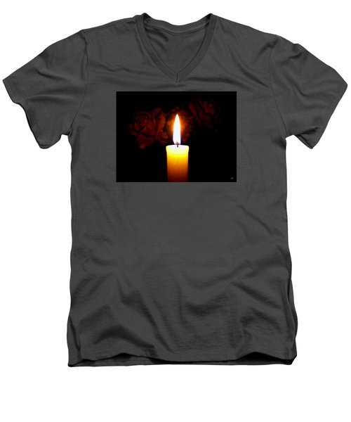 Candlelight And Roses Men's V-Neck T-Shirt by Will Borden
