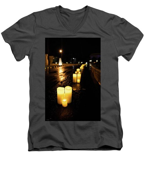 Candles On The Beach Men's V-Neck T-Shirt