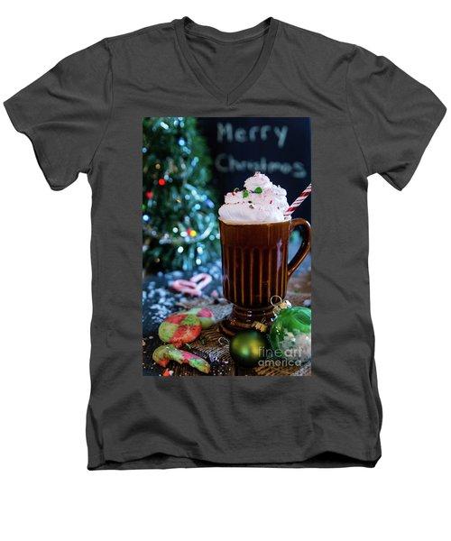 Men's V-Neck T-Shirt featuring the photograph Candy Cane Twist by Deborah Klubertanz
