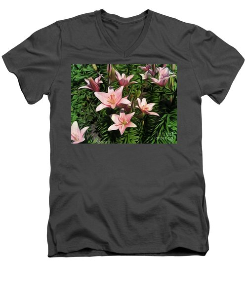 Candy-striped Day Lilies Men's V-Neck T-Shirt
