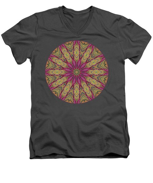 Men's V-Neck T-Shirt featuring the photograph Canna Leaf - Mandala - Transparent by Nikolyn McDonald