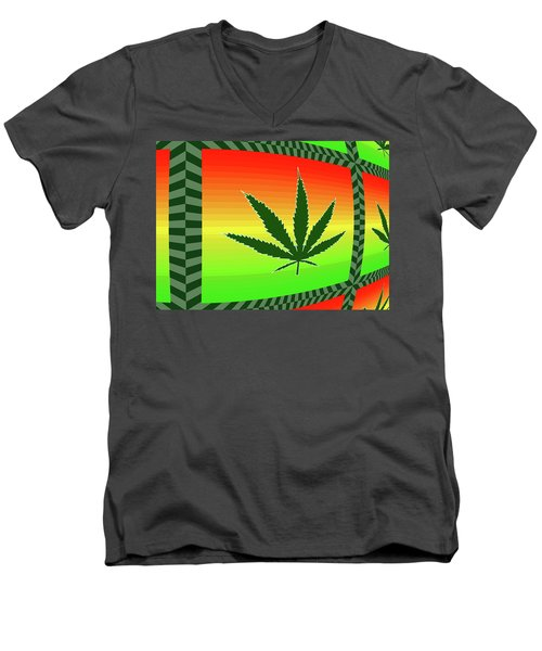 Men's V-Neck T-Shirt featuring the mixed media Cannabis  by Dan Sproul