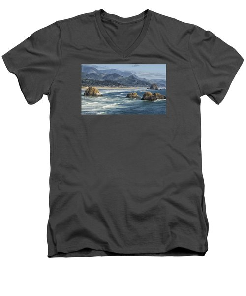 Cannon Beach 0192 Men's V-Neck T-Shirt by Tom Kelly
