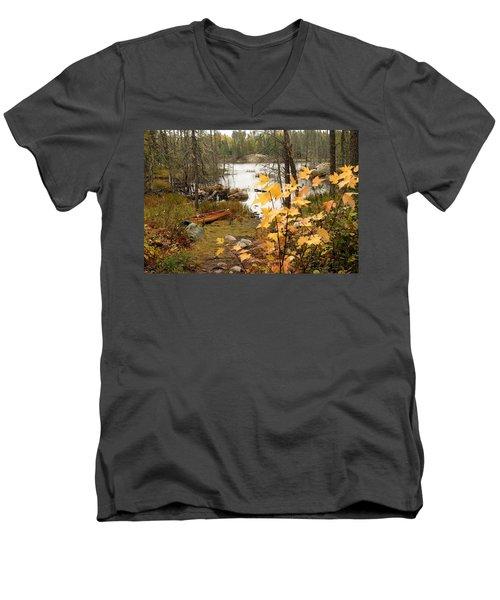 Canoe At Little Bass Lake Men's V-Neck T-Shirt by Larry Ricker
