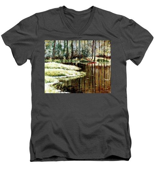 Canoe On Pond Men's V-Neck T-Shirt
