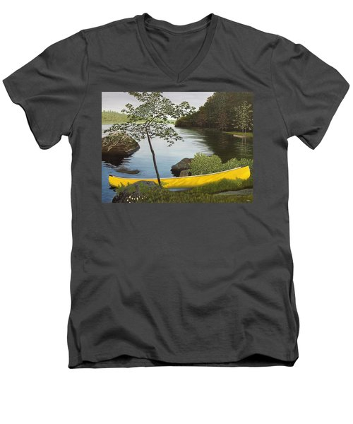 Canoe On The Bay Men's V-Neck T-Shirt
