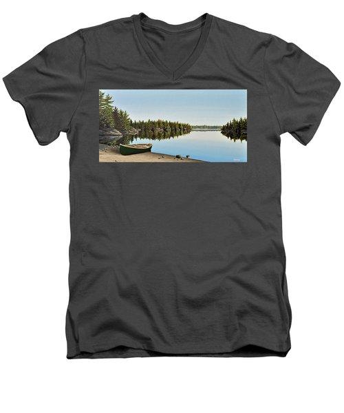 Canoe The Massassauga Men's V-Neck T-Shirt by Kenneth M  Kirsch